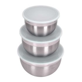 3 Pc Large Stainless Steel Bowl Set - 3, 5 & 8 Qt