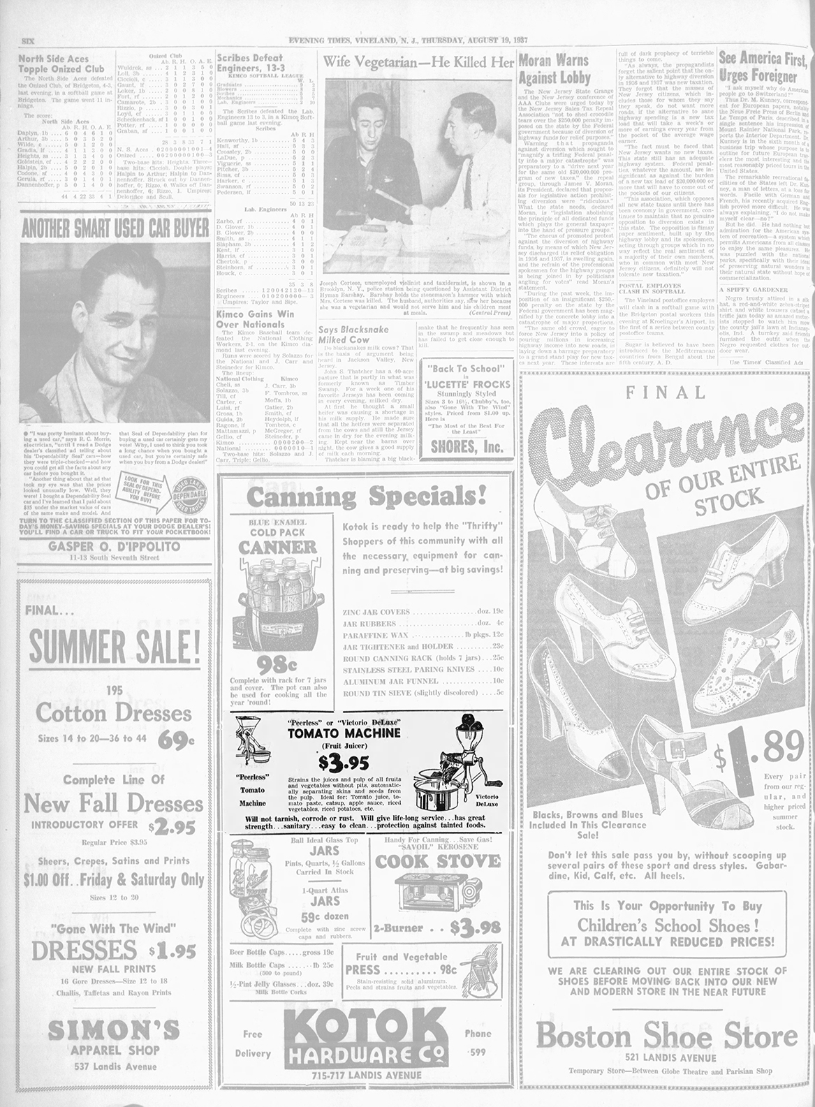 The Daily Journal Thursday August 19 1937